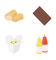 chocolate noodles nuggets saucefast food set vector image vector image