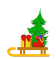 Christmas tree with boot and a gift vector image