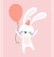cute birthday rabbit with a party hat vector image vector image