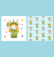 cute cartoon liberty girl and pattern vector image vector image
