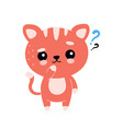 cute happy smiling cat with question mark vector image vector image