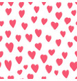 cute pattern with pink hand drawn hearts vector image vector image