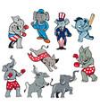 elephant mascot cartoon set vector image vector image