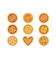 flat set tasty pizza with different vector image vector image