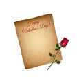happy valentines day greeting card worn parchment vector image vector image