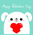 happy valentines day white dog puppy head face vector image vector image