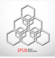 hexagonal 3d design made in white plastic style vector image vector image