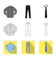 isolated object of man and clothing sign set of vector image