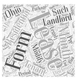Legal forms for landlords in Ohio Word Cloud vector image vector image