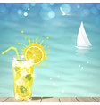 lemonade against blue sea vector image vector image