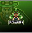 leprechaun esport mascot logo design vector image