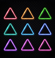 neon light triangles set on transparent background vector image vector image