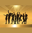 party people dancing on a golden podium background vector image