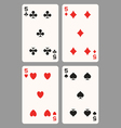 Playing cards five vector image vector image