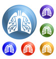 pneumonia lungs icons set vector image vector image