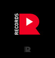 r letter play icon inside records logo game music vector image