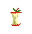 red apple eaten bitten apple vector image