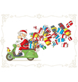 Santa Claus with Presents on Scooter vector image vector image