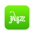 saxophone icon green vector image