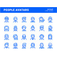 set flat line avatar icons vector image