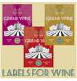 set of labels for wine with grapes vector image vector image