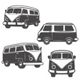 set retro hippie buses isolated on white vector image