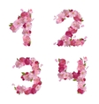 Spring font from cherry flowers figures 1234 vector image vector image