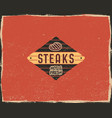 steak house typography poster template in retro vector image