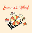 summer vibes slogan aerial vector image vector image