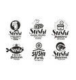 sushi and rolls logo or label japanese food menu vector image vector image