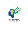 thinking brain creative imagination logo vector image