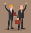 two businessmen in suits waving their hands vector image vector image