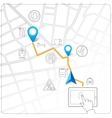 Using tablet for street map navigation vector image