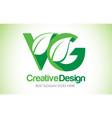 vg green leaf letter design logo eco bio leaf vector image vector image
