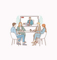 video conference and teamwork concept vector image