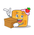 waffle character cartoon design with box vector image vector image