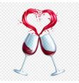 wine glasses toasting heart shape splash vector image vector image