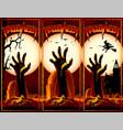zombie hand cemetery halloween vintage background vector image