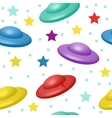 Kids cute seamless pattern with UFO endless vector image