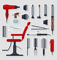 sticker set of hairdresser objects in flat style vector image