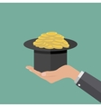 magic hat full of coins vector image
