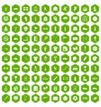 100 sport club icons hexagon green vector image vector image