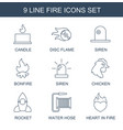 9 fire icons vector image vector image
