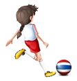 A female soccer player from Thailand vector image vector image