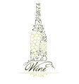 Abstract floral white wine bottle vector image vector image