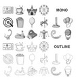 amusement park monochrom icons in set collection vector image vector image