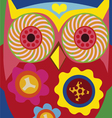 art portrait of a comic owl vector image vector image