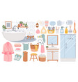 bathroom elements cleansing products for skin vector image vector image