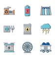 bioenergy icons set cartoon style vector image vector image