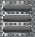 black oval buttons on metal perforated background vector image vector image